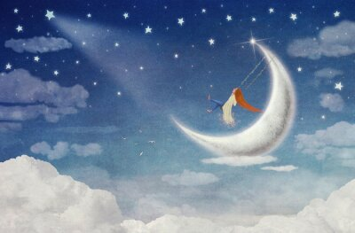 Obraz Jazda Fairy na huśtawce na księżyc na niebie
