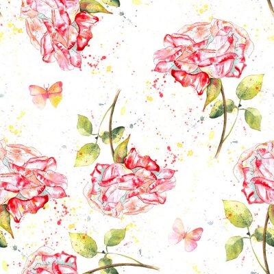 Obraz Jednolite tło wzór z róż akwarela, zachlapaniem i motyli