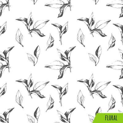Obraz Jednolite tło z liści. Szkic stylu.