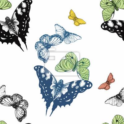 Jednolite wzór akwarela motyle.