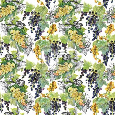 Jednolite wzór akwarela z liści i jagód