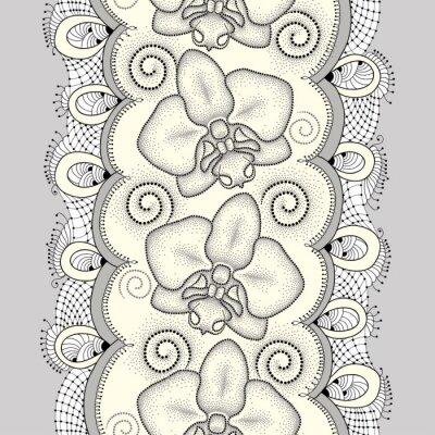Obraz Jednolite wzór z kropkami Orchid ćma lub Phalaenopsis, wiruje i ozdobną koronką na jasnożółtym tle. Floral tło w stylu dotwork.
