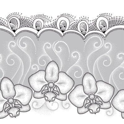 Obraz Jednolite wzór z kropkami Orchid Phalaenopsis, mole lub białych wiruje i ozdobną koronką na szarym tle. Floral tło w stylu dotwork.