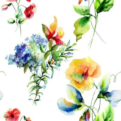 Obraz Jednolite wzór z kwiatów letnich dekoracyjne