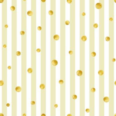 Obraz Jednolite wzór z ręcznie malowane okręgów złota. Złoty wzór polka dot