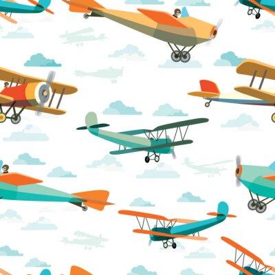Obraz Jednolite wzór z retro Samoloty