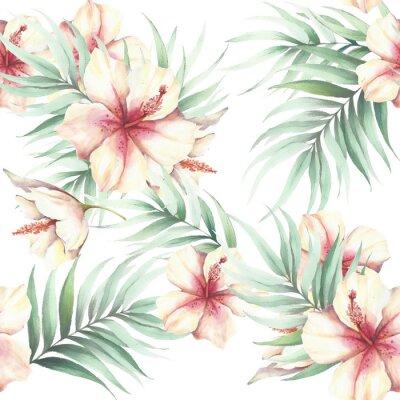 Obraz Jednolite wzór z tropikalnych kwiatów i liści. Ilustracja akwarela.