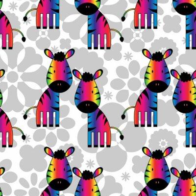 Obraz Jednolite wzór z zabawnymi zebry tęczy