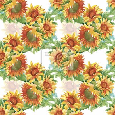 Jednolite wzór z żółtych słoneczników malowane akwarelą na