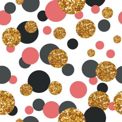 Obraz Jednolite wzór ze złotym brokatem kropek.