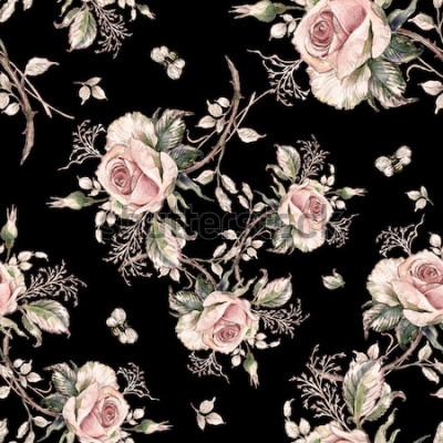 Obraz Jednolity wzór róży i trzmieli bee-7