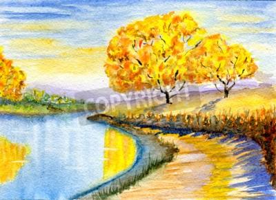 Obraz Jesień na wsi, ręcznie rysowane ilustracji akwarela, papier tekstury