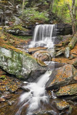 Jesień w B. Reynolds Falls - Rickets Glen State Park, Pennsylvania