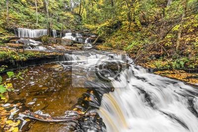 Jesień w Delaware Falls - Ricketts Glen State Park, Pennsylvania