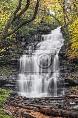Jesień w Ganoga Falls - Ricketts Glen State Park, Pennsylvania