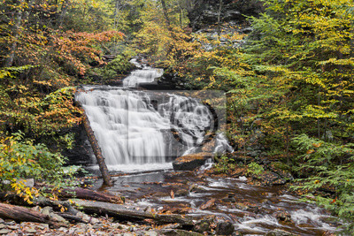 Jesień w Mohican Falls - Ricketts Glen, Pennsylvania