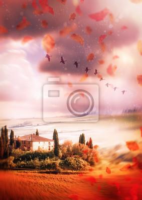 Obraz Jesień w Toskanii. tło