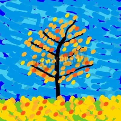 Obraz Jesienny krajobraz w stylu impresjonizmu. ilustracji wektorowych.