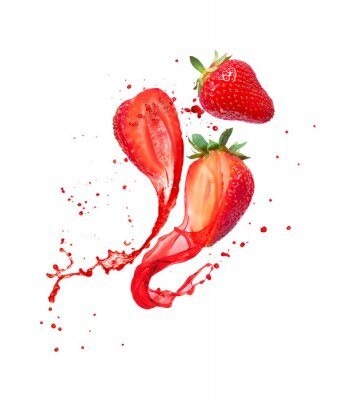 Obraz Juice splashes out from cutted strawberries on a white background
