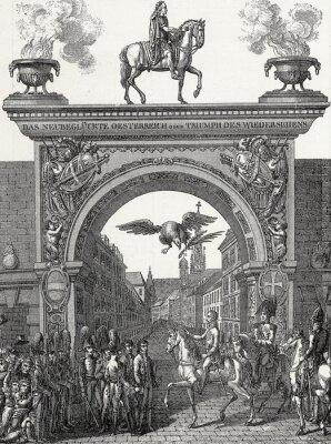 Obraz Kaiser Franz I. zieht w Wiena ein im Juni 1814, Kupferstichvorlage