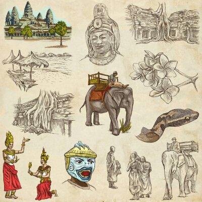 Obraz Kambodża - W ręcznie rysowane ilustracje. Frehand pakietu.