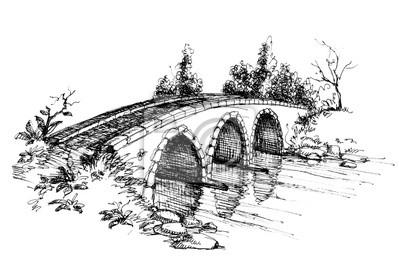 Obraz Kamienny most nad rzeką szkic