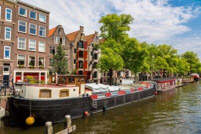 Obraz kanały i łodzie Amsterdam, Holland, Netherlands.