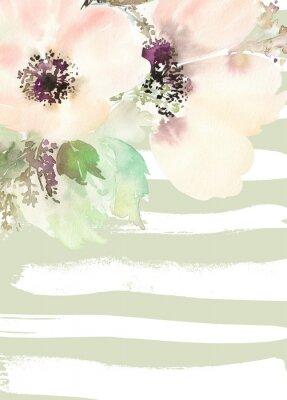 Obraz Kartkę z życzeniami z kwiatami. Pastelowych kolorach. Wykonany ręcznie.