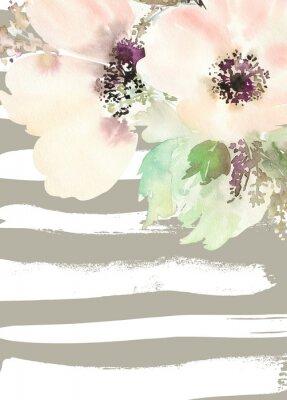 Obraz Kartkę z życzeniami z kwiatami. Pastelowych kolorach. Wykonany ręcznie. akwarela. Ślub, urodziny, Dzień Matki. Dla przyszłej panny młodej.