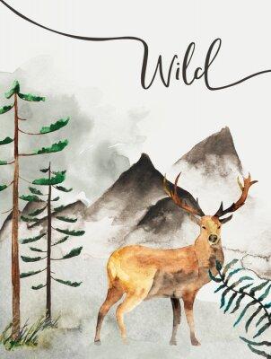 Obraz Kartkę z życzeniami z tłem lasu i gór. Motyw dziecięcy. Pocztówka z jeleniem. Dzikiej przyrody