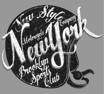 Obraz Kask motocyklowy Typografia New York Sports Club