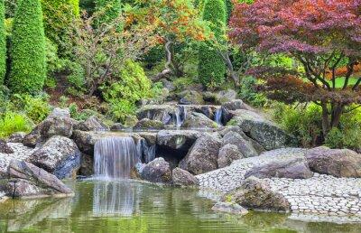 Kaskadowy wodospad w japoński ogród w Bonn