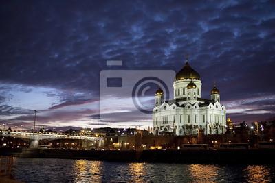 Katedra Chrystusa Zbawiciela w świetle wieczorem, Moskwa, Rosja