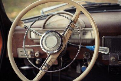 Obraz kierownicy samochód retro