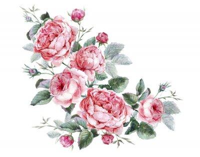 Obraz Klasyczne Vintage kwiatowy kartkę z życzeniami, akwarela bukiet
