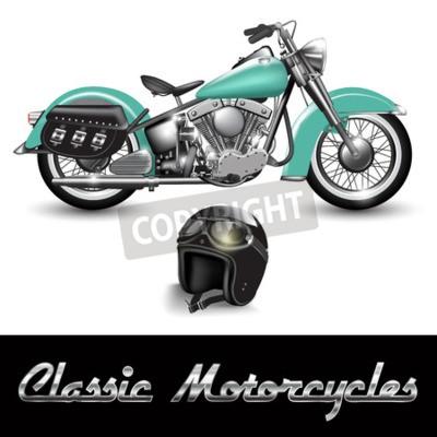 Obraz Klasyczny motocykl i kask z okularami. Ilustracji wektorowych