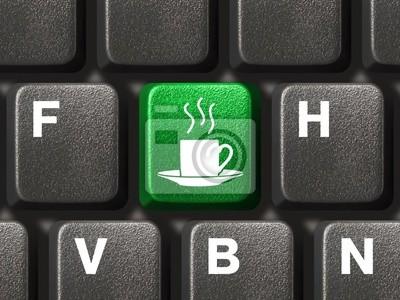 Klawiatury komputera z kluczem, kawy koncepcji