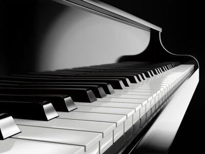 Obraz klawisze fortepianu na czarnym fortepianie
