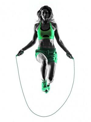 Obraz kobieta fitness ćwiczenia skakanka Sylwetka