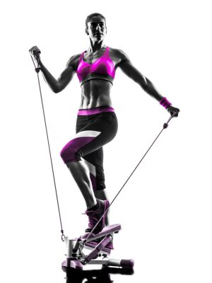 Obraz kobieta fitness krokowy kontur