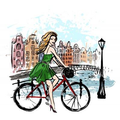 Obraz kobieta jazdy rower