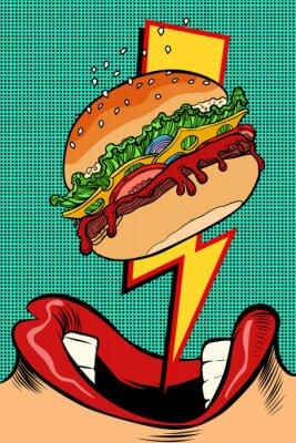 Obraz Kobieta je Burger. Styl pop-artu. Kobiece usta