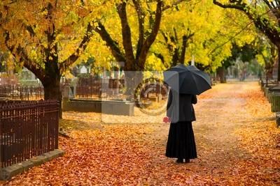 kobieta w żałobie na cmentarzu w spadku