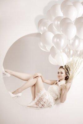Obraz Kobieta z balonami w rękach
