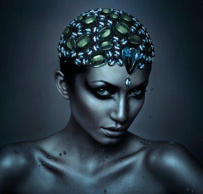 Obraz kobieta z głową Gemstone