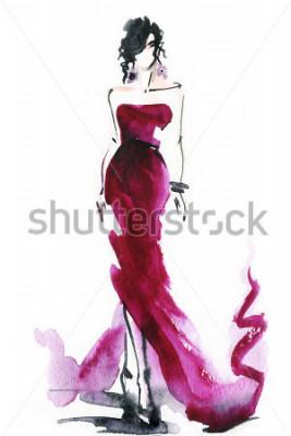 Obraz kobiety z eleganckimi bukietami .abstract akwarela .fashion tło