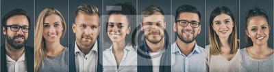 Obraz Kolaż portretów ludzi biznesu zróżnicowanych etnicznie.