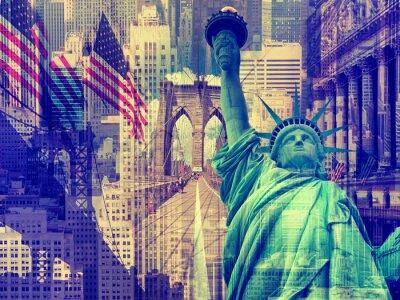 Obraz Kolaż zawierający kilka nowojorskich zabytków