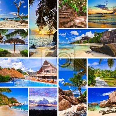 Kolaż zdjęć plaży latem
