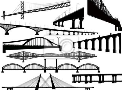 Obraz kolekcja dziesięciu długich mostów na białym tle